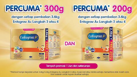 Enfagrow A+ PERCUMA* 300g dan 200g Pek Promosi