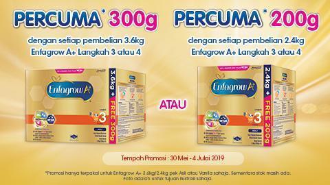 PERCUMA* 300g dan PERCUMA* 200g Pek Promosi Enfagrow A+