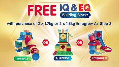 FREE* IQ & EQ Building Blocks with purchase of 2x1.7kg/1.8kg Enfagrow A+ Step 3