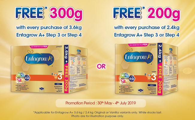 Enfagrow A+ FREE* 300g and FREE* 200g Promo Pack