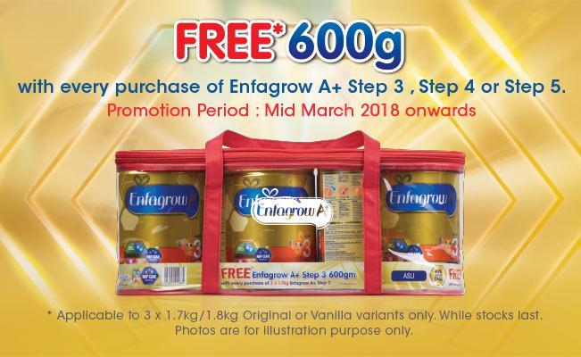 Enfagrow A+ FREE* 600g Promo