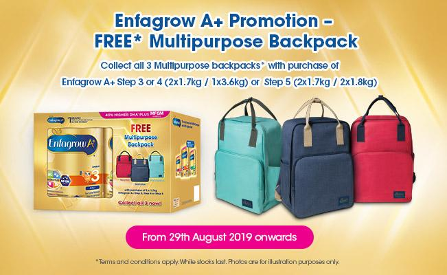 Enfagrow A+ Promotion – FREE* Multipurpose Backpack
