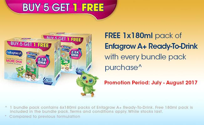 Enfagrow A+ Ready-To-Drink Buy 5 Get 1 FREE Promotion