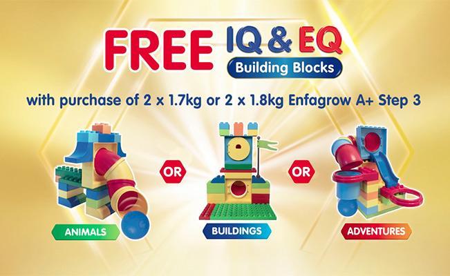 FREE* IQ & EQ Building Blocks with purchase of 2x1.7kg/1.8kg Enfagrow A+ Step 3