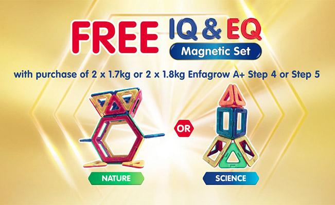 FREE* IQ & EQ Magnetic Set with purchase of 2x1.7kg/1.8kg Enfagrow A+ Step 4 or 5